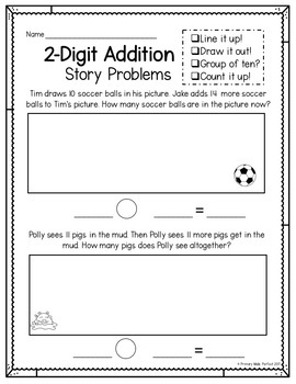 2 Digit Addition Word Problems With Regrouping | 1st Grade Word Problems