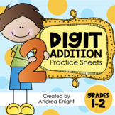 Two Digit Addition: Math Worksheets for Grades 1-2 (Distance Learning)