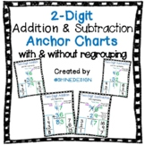 2-Digit Addition & Subtraction Anchor Charts (with regrouping and without)