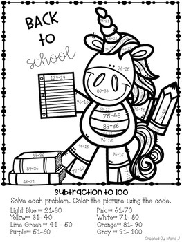 2 Digit Addition & Subtraction Color-By-Number Back to School Themed