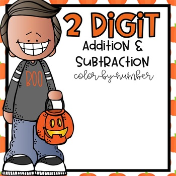 2 Digit Addition & Subtraction Color-By-Number Halloween Themed
