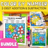 2-Digit Addition & 2-Digit Subtraction Color By Number Bun