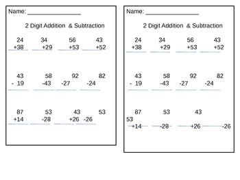2 Digit Addition Subtraction Practice