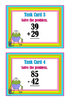 2-Digit Addition & Subtraction Problems - With & Without Regrouping Task Cards