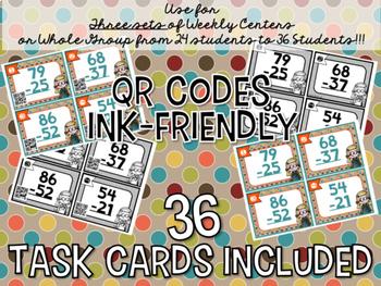 2-Digit Addition & Subtraction QR Code Task Card BUNDLE: 36 Cards Each