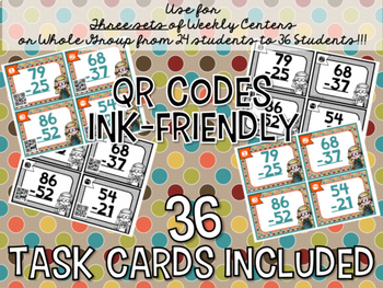 2-Digit Addition & Subtraction QR Code Task Card BUNDLE: 36 Cards Each