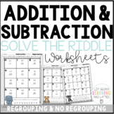 2 Digit Addition & Subtraction Riddle Practice Pages