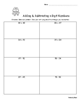 2-Digit Addition & Subtraction - Show your strategy! Classwork or Quiz