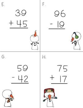 2 Digit Addition & Subtraction Snowman Scoot