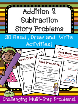2 Digit Addition Subtraction Story Problem Book Multi Step Read Write Draw!