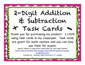 2-Digit Addition & Subtraction Task Cards (with and withou