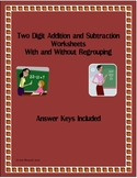 2 Digit Addition & Subtraction Worksheets with Answer Keys
