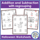 2 - Digit Addition & Subtraction with Regrouping Worksheets • Halloween