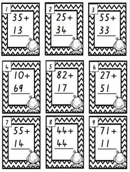 2-Digit Addition Task Cards No Regrouping