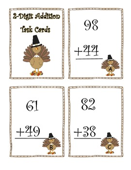2 Digit Addition Thanksgiving Task Cards:  Turkey Theme