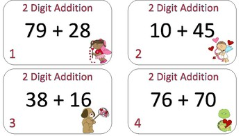 2-Digit Addition Task Cards {Valentine's Day Themed}