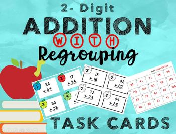 2-Digit Addition Task Cards WITH Regrouping!