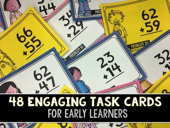 2-Digit Addition Task Cards (With AND Without Regrouping)