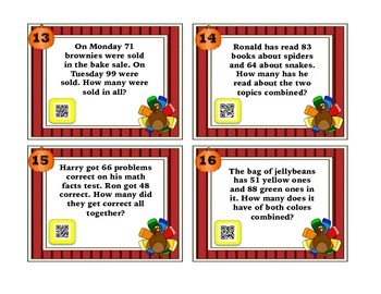 2 Digit Addition Task Cards with QR Codes-Thanksgiving Themed