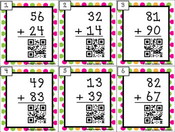 2-Digit Addition Task Cards with QR Codes (With and Without Regrouping)