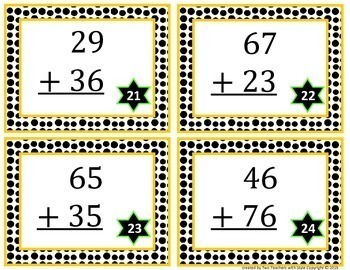 2-Digit Addition Task Cards with Regrouping