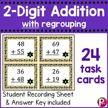 2 Digit Addition Task Cards with Regrouping