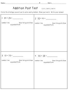 2 Digit Add. Test--Number line, expanded form,100 board, base ten