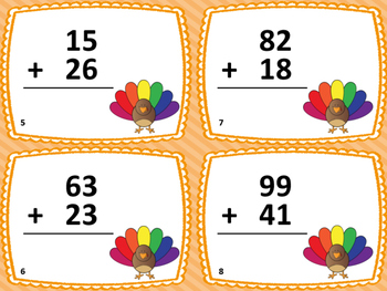 2-Digit Addition Thanksgiving Task Cards (28 Cards)