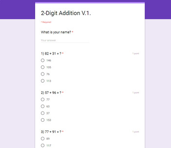 2-Digit Addition - Quiz with Google Forms