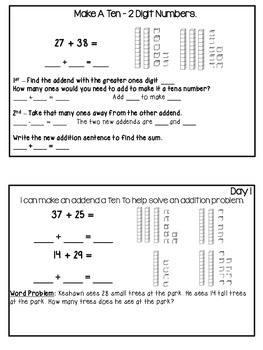 Common Core Aligned 2-Digit Addition Interactive Journal Unit