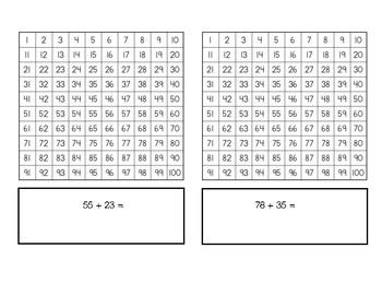 2-Digit Addition Using a Hundreds Chart Practice Worksheet