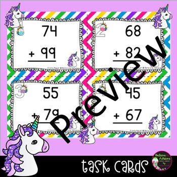 2 Digit Addition WITH regrouping (Unicorn theme) Task Cards