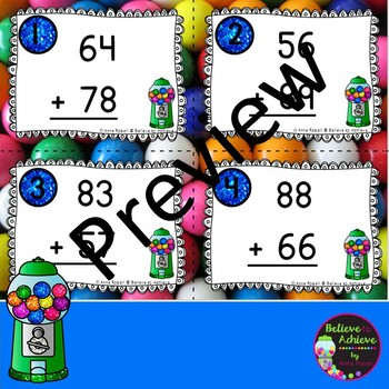 2 Digit Addition WITH regrouping (Gumball theme) Task Cards
