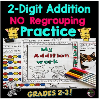 2-Digit Addition WITHOUT Regrouping Practice: Cat Theme