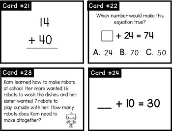 2 Digit Addition With Regrouping Problem Solving Task Cards