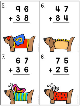 2 Digit Addition With Regrouping Task Cards