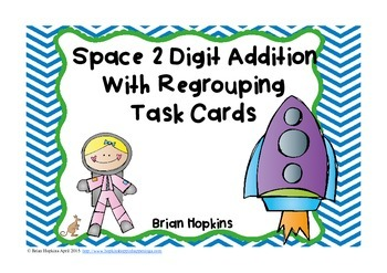 2 Digit Addition With Regrouping Task Cards Space Theme