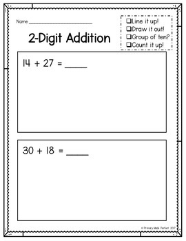 2 Digit Addition With Regrouping Worksheets | 1st Grade Math