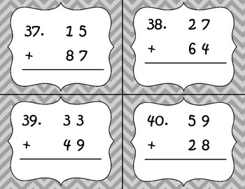 2 Digit Addition With and Without Regrouping Task Cards