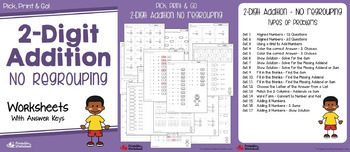 2 Digit Addition Worksheets With Regrouping, Adding Three Addends Activities