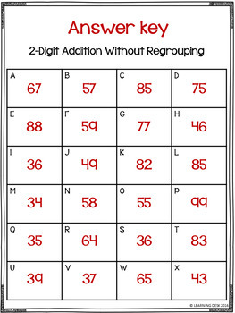 2 Digit Addition Without Regrouping Task Cards
