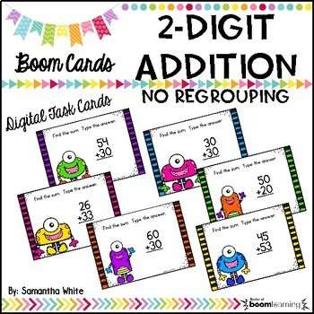 2-Digit Addition Without Regrouping BOOM Cards {Digital Task Cards}
