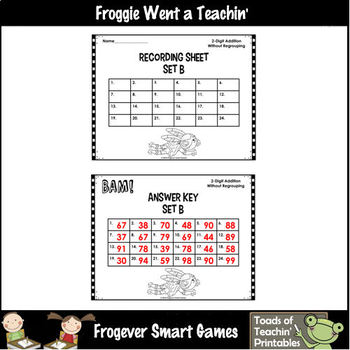 """2-Digit Addition Without Regrouping -- """"Bam!"""" 72 Task Cards/12 Worksheets"""