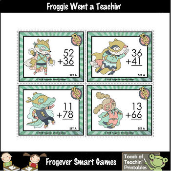 "2-Digit Addition Without Regrouping -- ""Bam!"" 72 Task Cards/12 Worksheets"