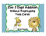 2 Digit Addition Without Regrouping Task Cards Zoo Theme