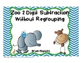 2 Digit Subtraction Without Regrouping Task Cards Zoo Theme