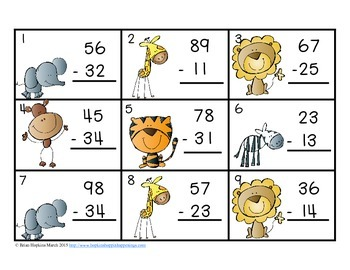 2 Digit Subtraction Without Regrouping Task Cards Zoo Theme by Brian ...