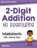 Adding 2 Digit Addition Without Regrouping Worksheets with Answer Keys