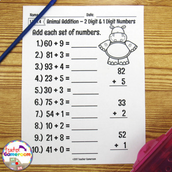 2 Digit Addition Worksheet Bundle