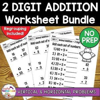 2 Digit Addition Worksheet Bundle